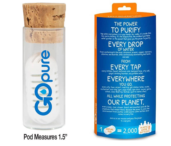 GoPure Pod - Filters & Purifies Tap Water Everywhere