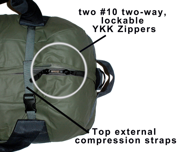 Double Zipper and Compression Straps